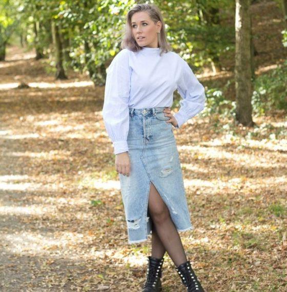 Denim skirt | Oversized blouse